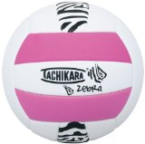 Cover: tachikara sof-tec zebra pink/white indoor/outdoor foam backed panel volleyball